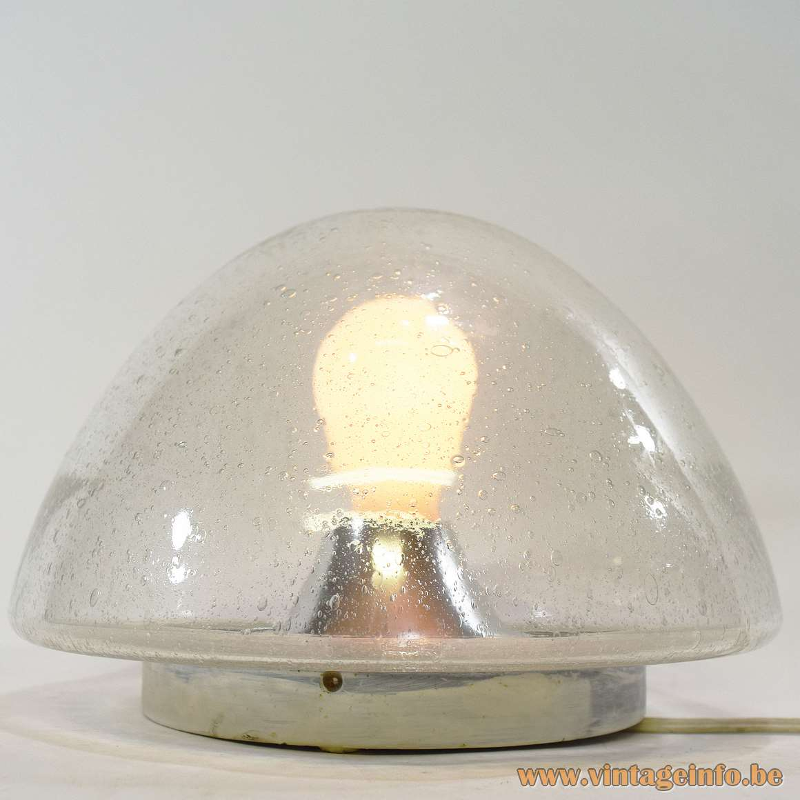 Hoffmeister Bubble Glass Flush Mount half round clear globe lamp aluminium parts HOSO 1960s 1970s MCM
