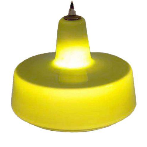 Holmegaard green glass pendant lamp design: Jacob Eiler Bang round olive lampshade white inside 1960s Denmark