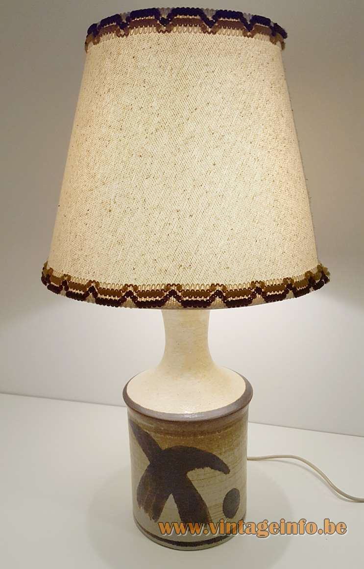 Jette Hellerøe table lamp brown & white ceramics base round conical lampshade AXELLA Design Denmark 1970s