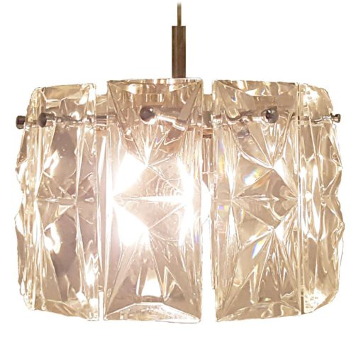 Kinkeldey Crystal Pendant Lamp clear cut faceted glass chromed metal 1960s 1970s Germany MCM