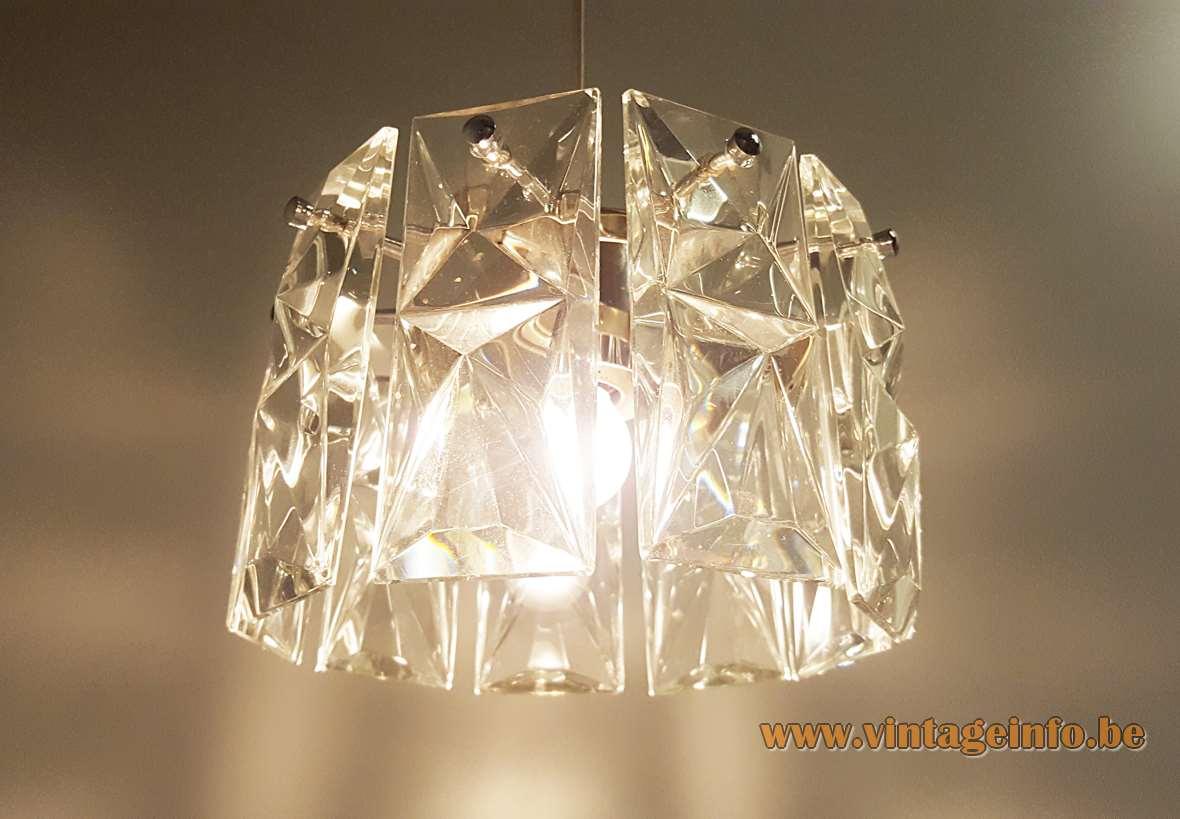 Kinkeldey crystal pendant lamp metal frame clear cut faceted glass lampshade 1960s 1970s Germany E27 socket