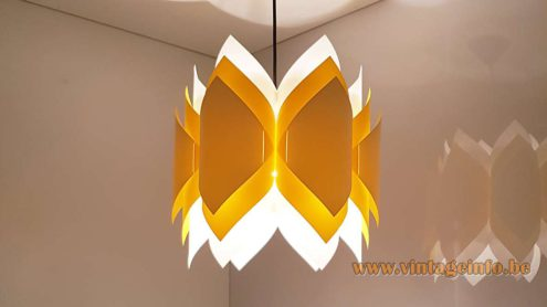 Lars Eiler Schiøler Ballet Pendant Lamp Hoyrup white yellow orange folded PVC 1970s DIY assembly kit
