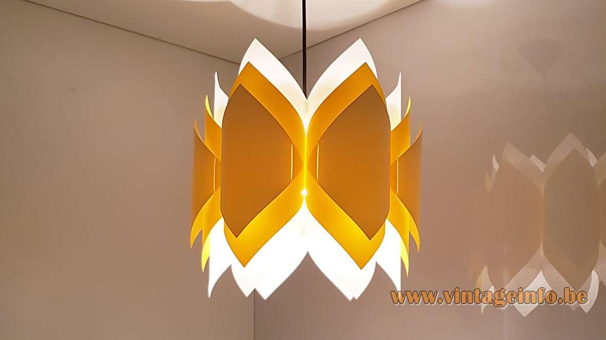 Lars Eiler Schiøler Ballet Pendant Lamp Hoyrup white yellow orange folded PVC 1970s DIY assembly kit