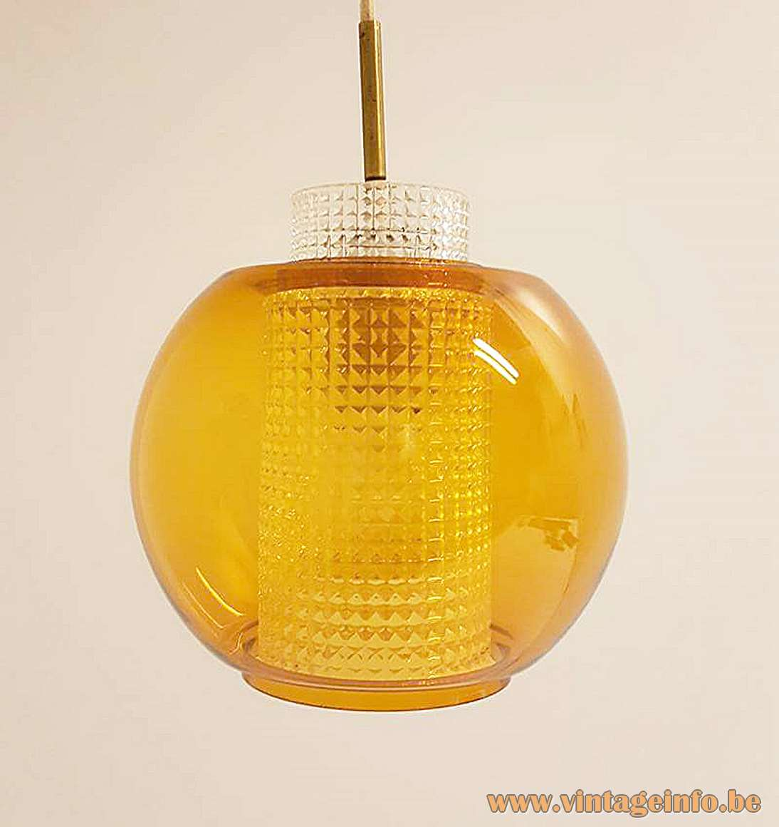 Nordisk Solar amber glass globe pendant lamp round clear diffuser 1960s model P 1102 MCM brass