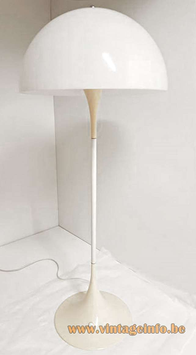 Verner Panton Panthella floor lamp white acrylic Perspex mushroom lampshade metal base Louis Poulsen 1970s design
