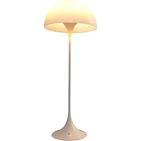 Verner Panton Panthella floor lamp white acrylic Perspex mushroom lampshade metal base Louis Poulsen 1970s design