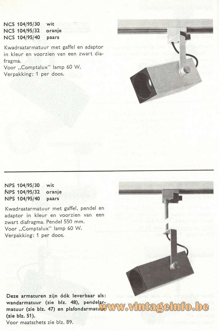 Philips NCS 103 & 104 Spotlight - Catalogue Picture - Rail version