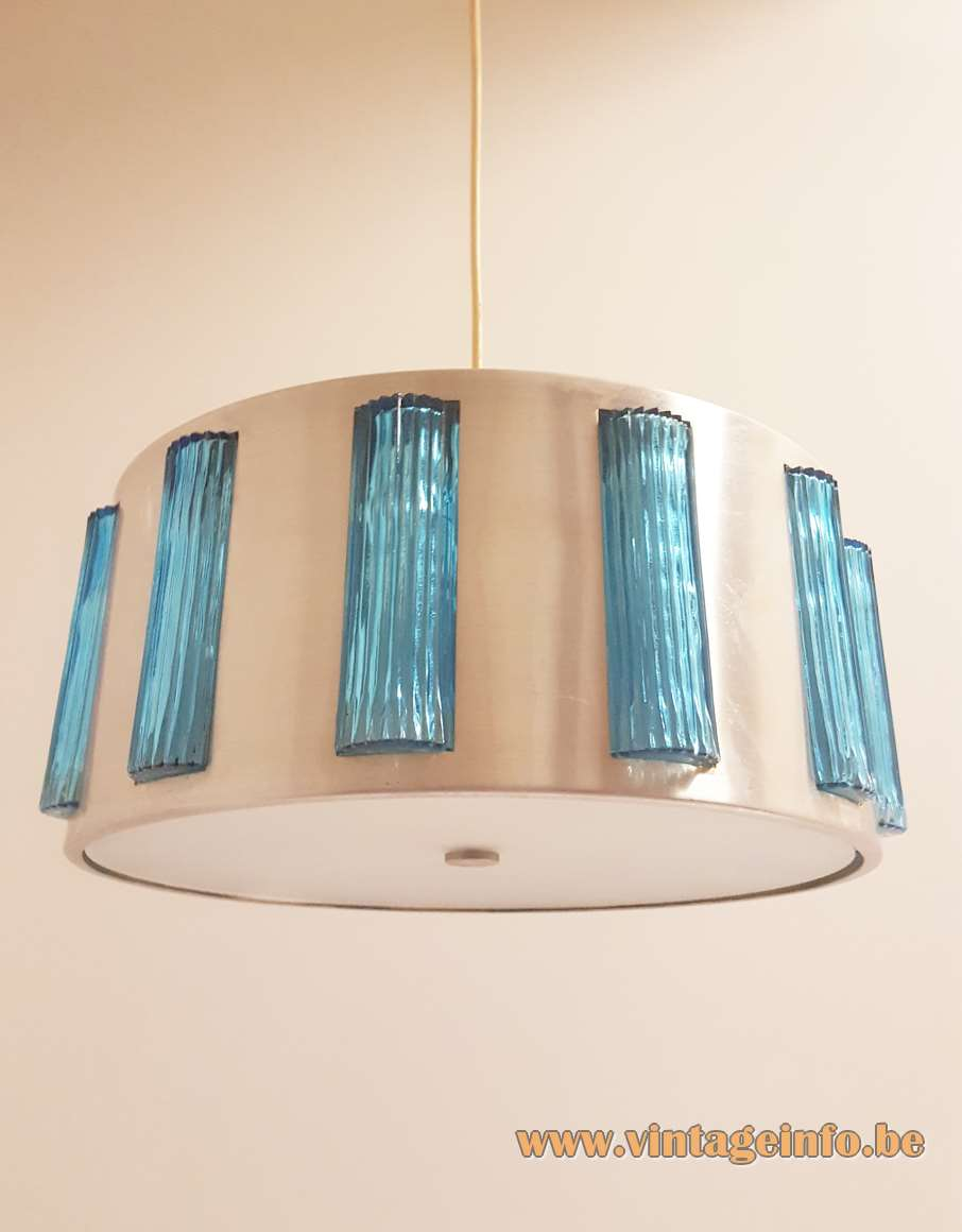 Lyfa Drum pendant lamp round metal lampshade acrylic diffuser rectangular blue glass blocks Orrefors 1960s Denmark