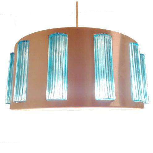 Drum pendant lamp Lyfa Denmark round metal lamp acrylic blue glass blocks by Orrefors Glasbruk Sweden 1960s MCM Mid-Century Modern