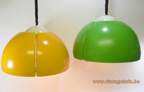 Temde-Leuchten Pendant Lamps ocher/white green/wite polyester rise & fall mechanism 4 sockets 1970s MCM