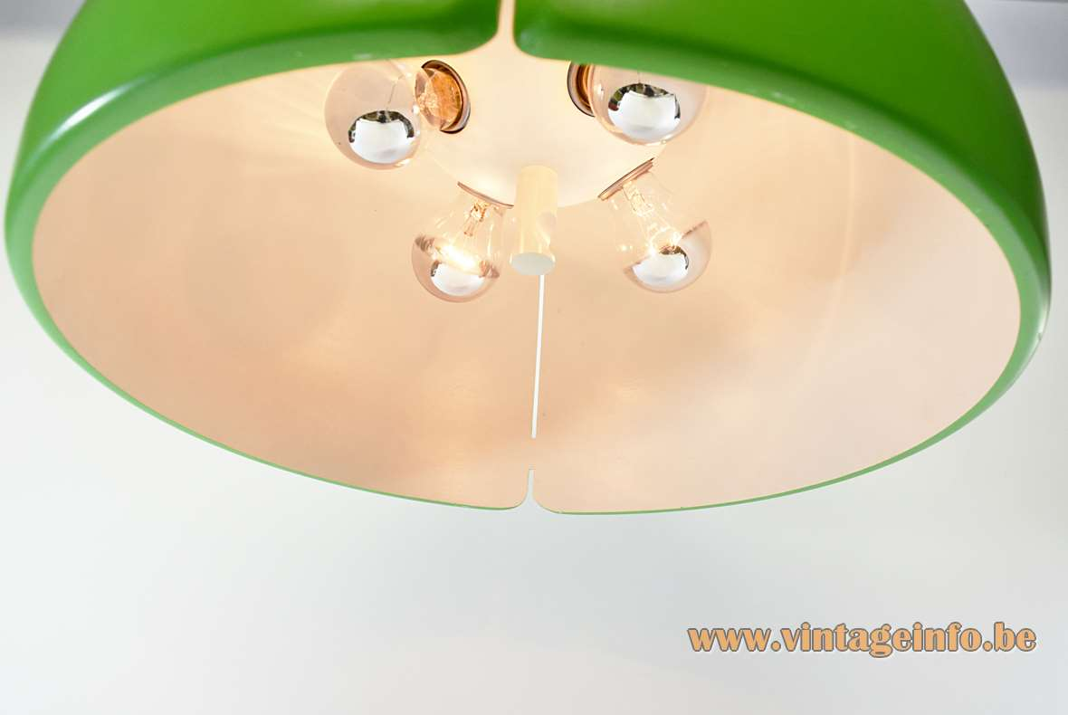 Temde-Leuchten Pendant Lamp big green/white polyester light rise & fall mechanism 4 sockets 1970s
