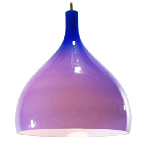 Venini pendant lamp design: Massimo Vignelli blue Murano glass white inside 1950s 1960s MCM Mid-Century Modern E27 socket