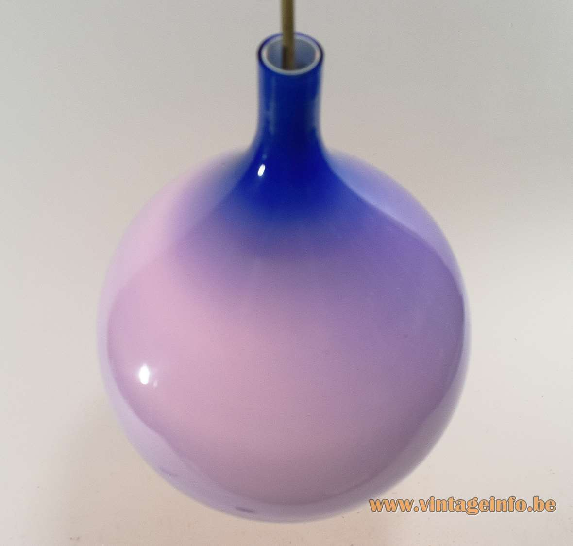 Venini Blue Pendant Lamp design: Massimo Vignelli Hand blown Murano glass white inside 1950s 1960s MCM