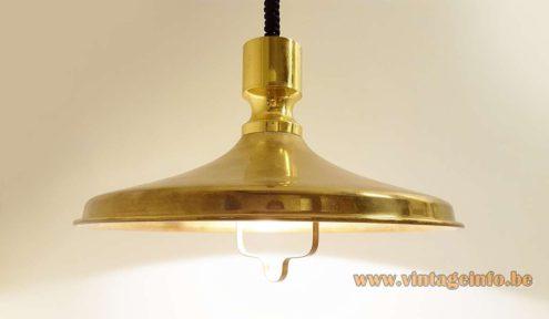 Vitrika Brass Rise & Fall Pendant Lamp 1970s mid-century modern metal light produced in Denmark MCM