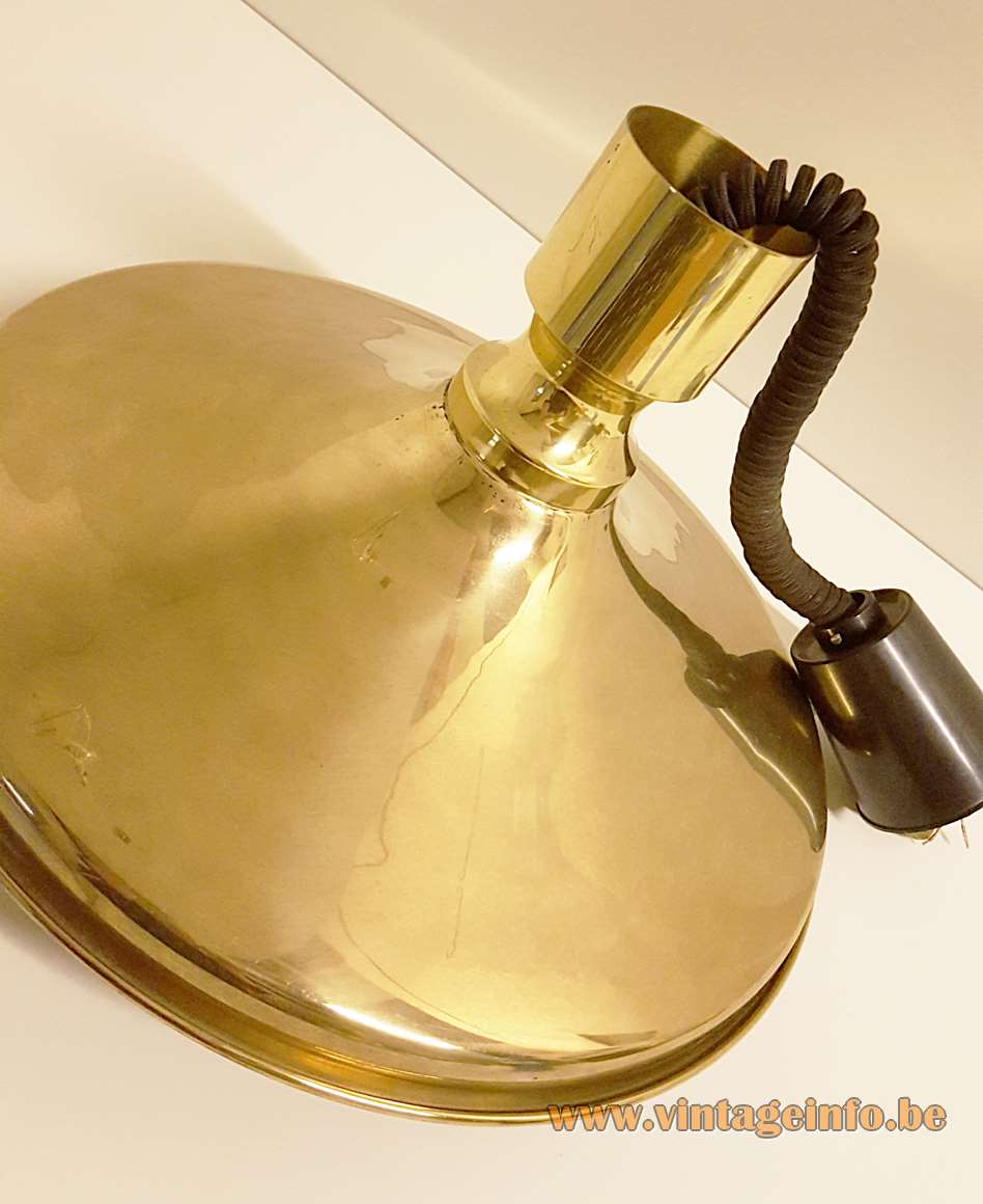 Vitrika brass rise & fall pendant lamp big metal dish with a handle bar Denmark 1970s