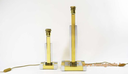 Willy Rizzo Table Lamps polished brass chrome Lumica 1970s 1980s MCM