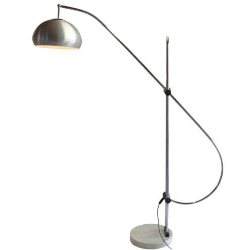 Arc floor lamp round Carrara marble base chrome rods aluminium lampshade articulating 1960s 1970s MCM Mid-Century Modern