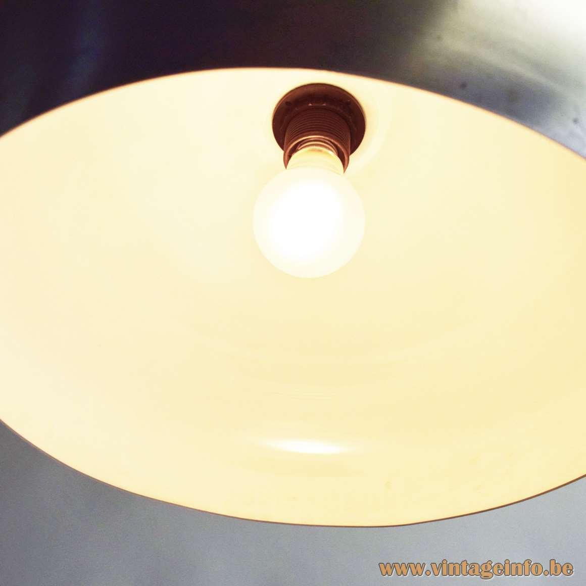 1960s Articulating Arc Floor Lamp round Carrara marble base chrome rods 2 black knobs aluminium lampshade