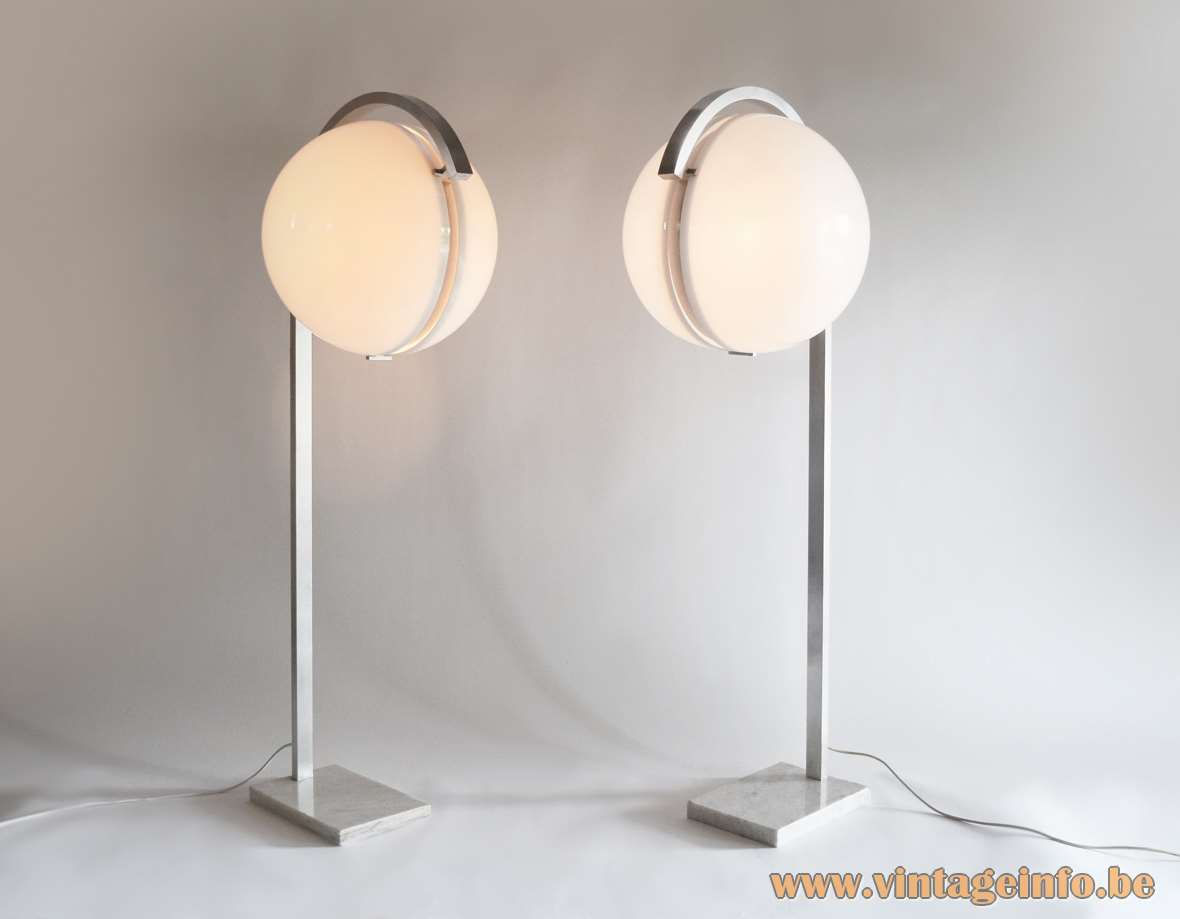 Acrylic globe floor lamps in white perspex marble base aluminium curved rectangular rod 1960s 1970s