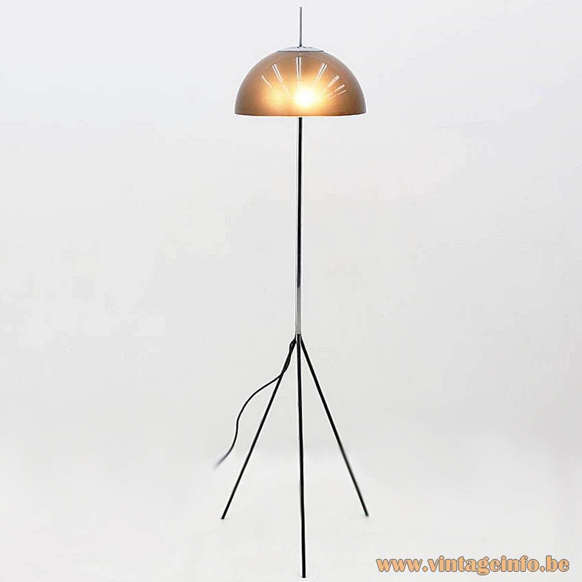 Arteluce acrylic floor lamp design: Gino Sarfatti Arteluce tripod chrome 1960s MCM