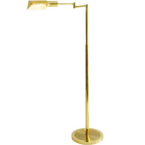 Brass floor lamp Boulanger round base pliable revolving rods 1970s 1980s E14 socket MCM Mid-Century Modern
