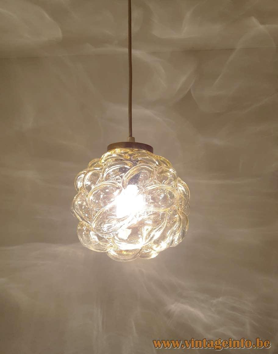 Bubble Glass Pendant Lamp round globe light Design: Helena Tynell Manufactured: Glashütte Limburg 1960s 1970s MCM