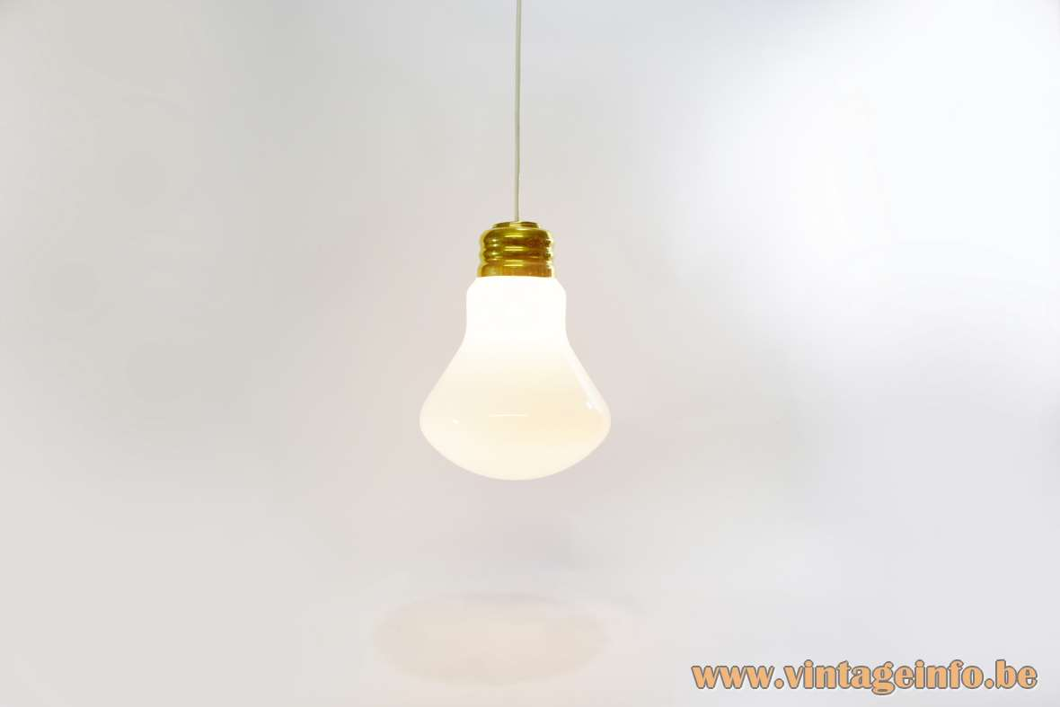Bulb Pendant Lamp white opal globe polished brass 1970s 1980s MCM