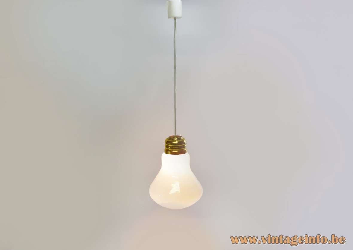 Bulb pendant lamp white opal glass globe lampshade brass screw-thread design 1960s 1970s E27 socket