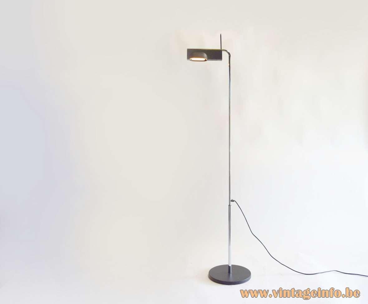 Artemide Camera Terra floor lamp design: Ernesto Gismondi black wrinkle paint lampshade chrome rod adjustable 1980s