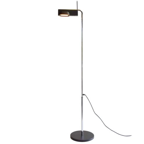 Artemide Camera Terra Floor Lamp Designer: Ernesto Gismondi black wrinkle paint chrome rod adjustable 1980s
