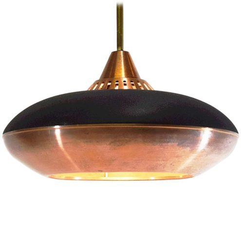 Copper pendant lamp UFO style black wrinkle paint perforated 1950s 1960s MCM Mid-Century Modern Scandinavian