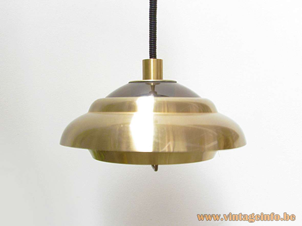 Dijkstra aluminium pendant lamp brass coloured lampshade & handle smoked acrylic top Rolly rise & fall 1970s