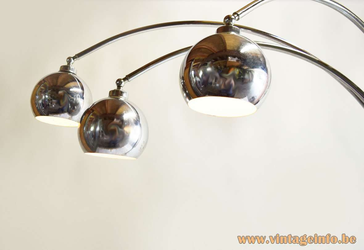 Marble And Chrome Eyeball Floor Lamp round base 3 globes and arms Reggiani style Massive Belgium