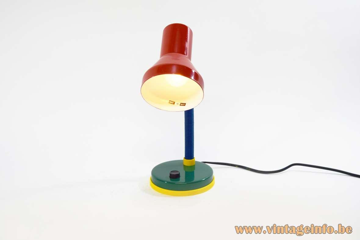 Fischer Leuchten Desk Lamp red lampshade yellow blue gooseneck yellow green round base black switch 1980s