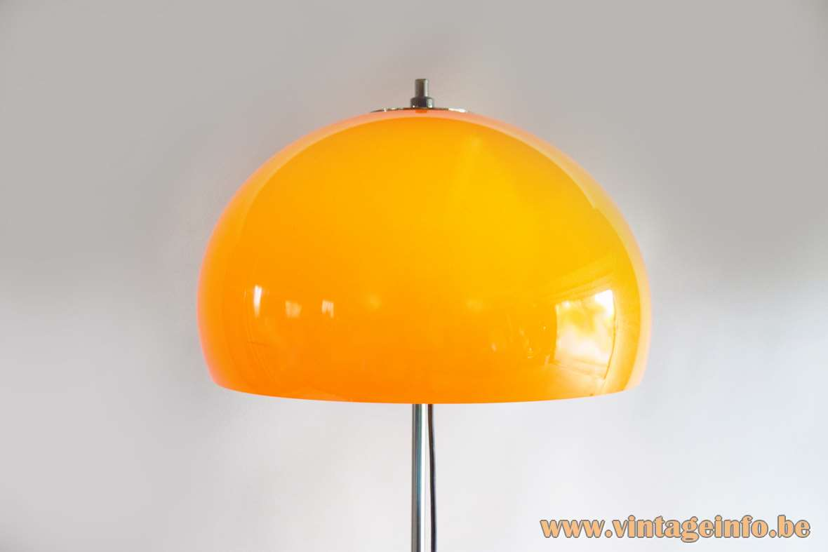 Gepo Mushroom Floor Lamp orange acrylic chrome rod round white metal base 1960s 1970s 2 bulbs