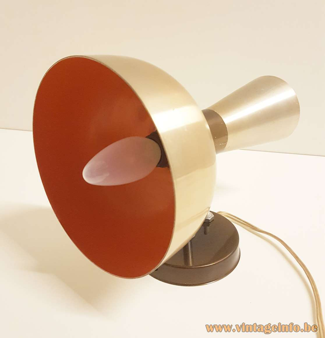 Herda Diabolo Wall Lamp anodized gold coloured aluminium orange inside 2 bulbs E14 1960s 1970s MCM