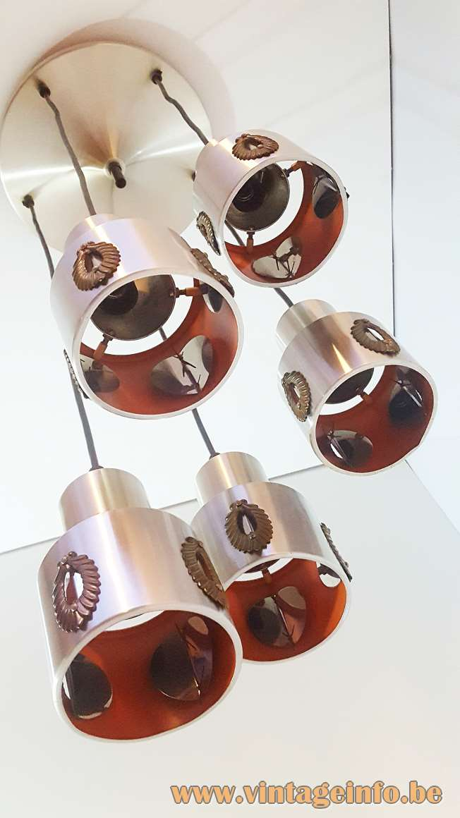 Lakro Cascade Pendant Lamp 5 aluminium lights laurel wreath decoration round canopy 1960s 1970s MCM