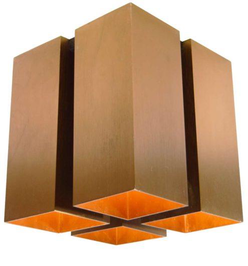 Quadrille flush mount 4 bronze copper coloured aluminium square beams lampshade 1970s Raak Viervoud Lightolier
