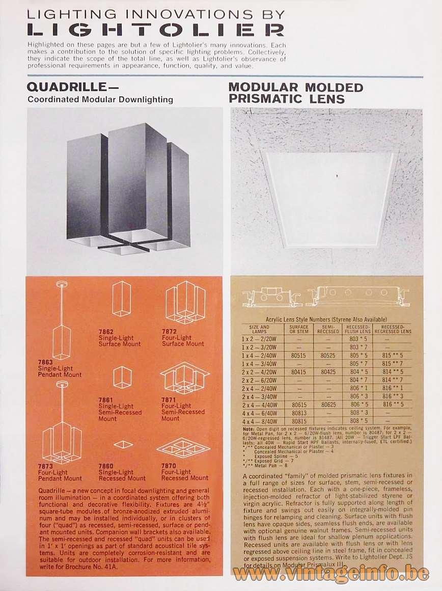 Lightolier Quadrille Flush Mount - Catalogue Picture 1970s