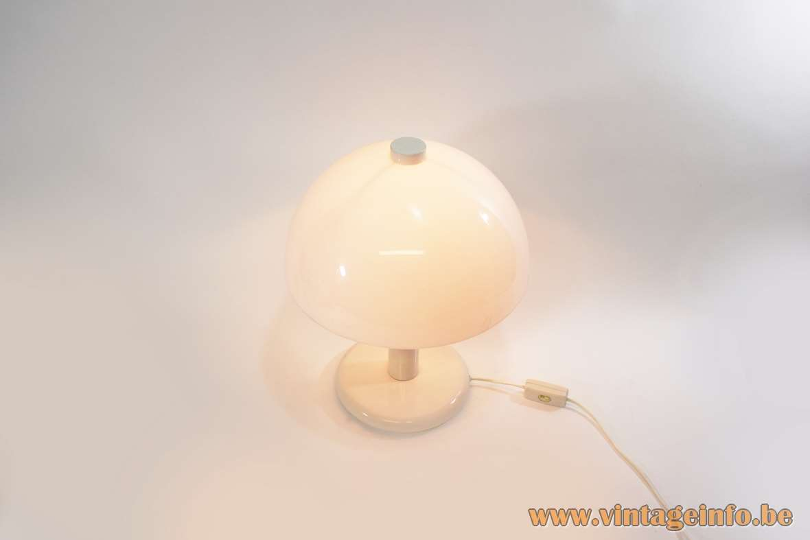 Mushroom table lamp white acrylic Perspex metal base and rod Massive Belgium 1970s 1980s MCM Mid-Century Modern