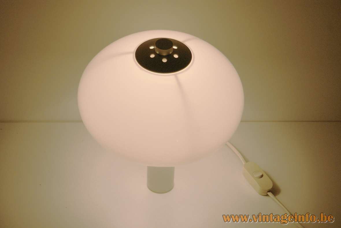 Acrylic mushroom wall lamp white metal tube plastic Perspex lampshade chrome nut Massive Belgium 1970s 1980s