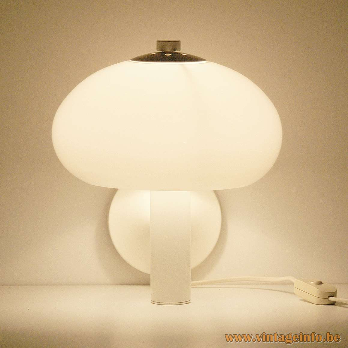 Acrylic Mushroom Wall Lamp white plastic and metal produced by MAssive, Belgium 1970s 1980s MCM