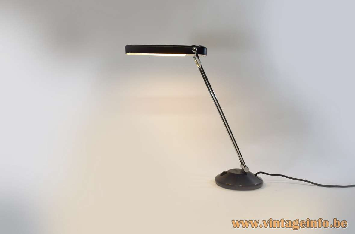 Philips Theux desk lamp round black metal base 2 chrome rods elongated black lampshade 1980s PL