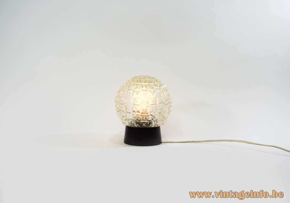 RZB Globe Flush Mount black Bakelite ceiling light round embossed pressed glass globe 1940s 1950s