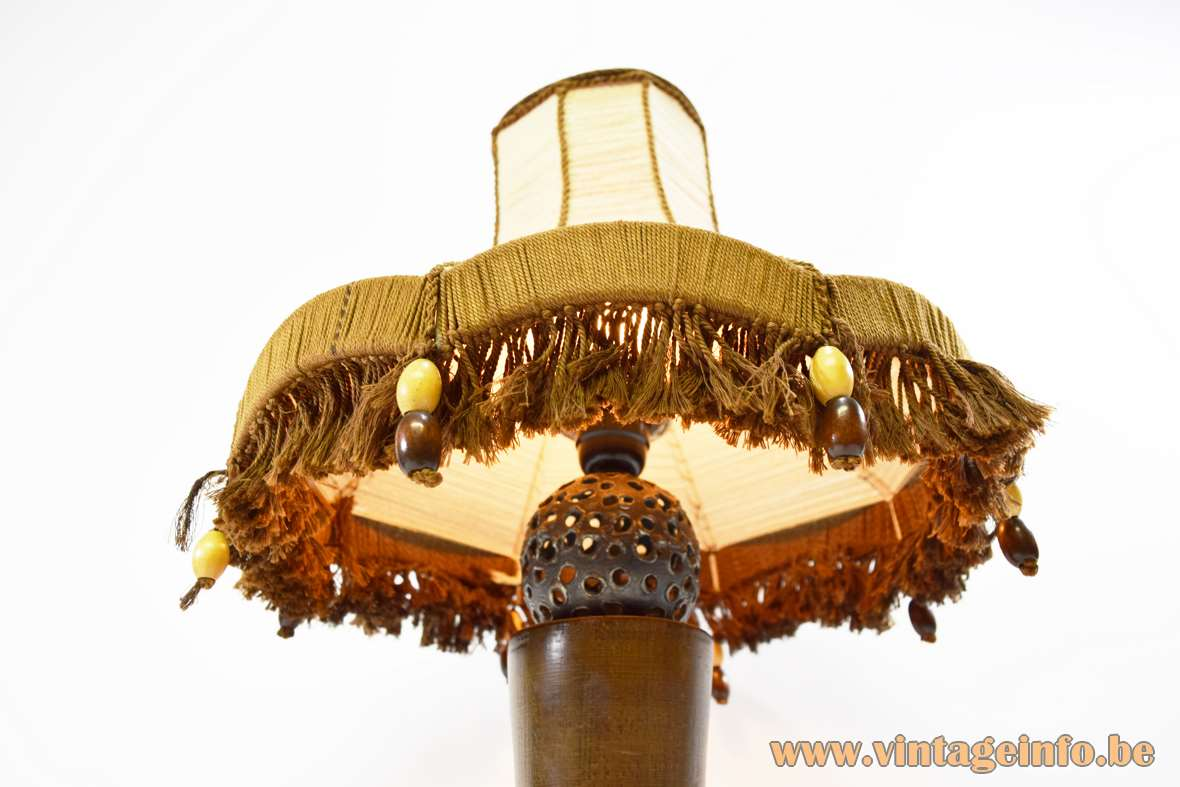 Rosewood Table Lamp welded holed metal sphere handmade jute and wool lampshade wooden pearls 1970s MCM