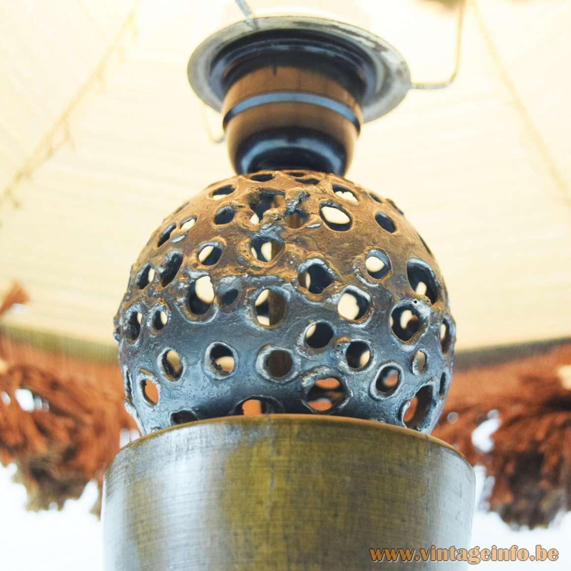 Rosewood Table Lamp welded holed metal sphere handmade jute and wool lampshade wooden pearls 1970s MCM