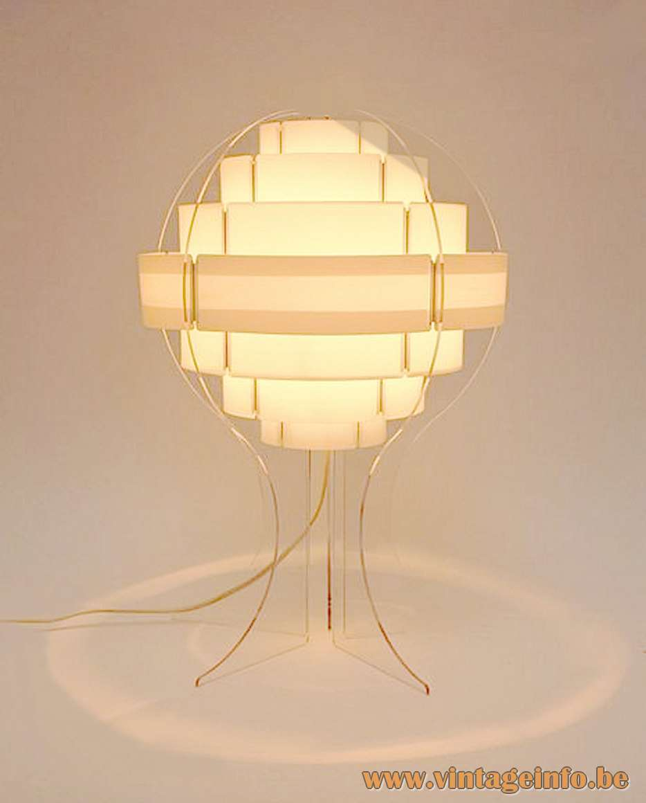 Strips Table Lamp clear acrylic white PVC plastic round lampshade 1960s Designers: Flemming Brylle Preben Jacobsen
