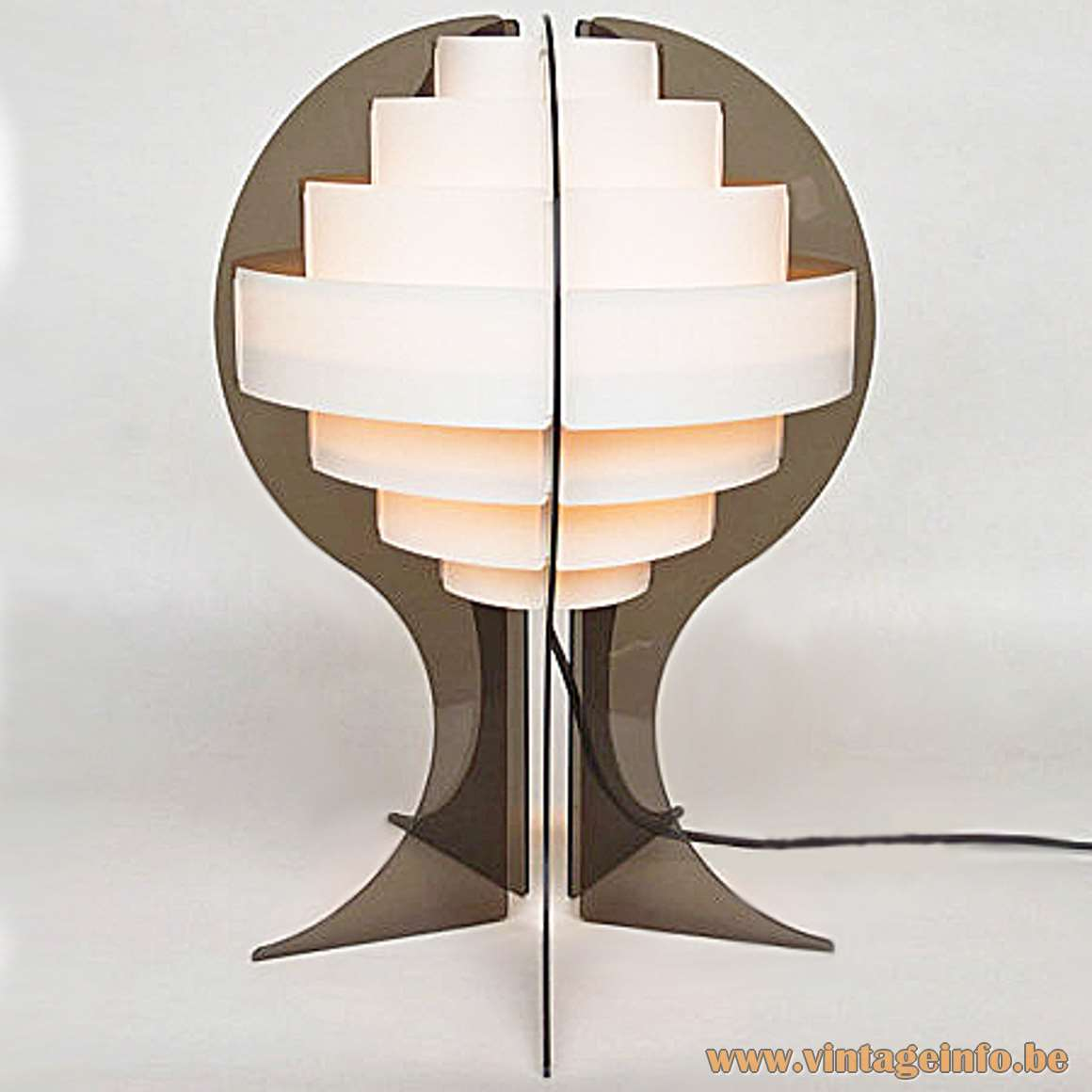Strips Table Lamp smoked acrylic white PVC plastic round lampshade 1960s Designers: Flemming Brylle Preben Jacobsen