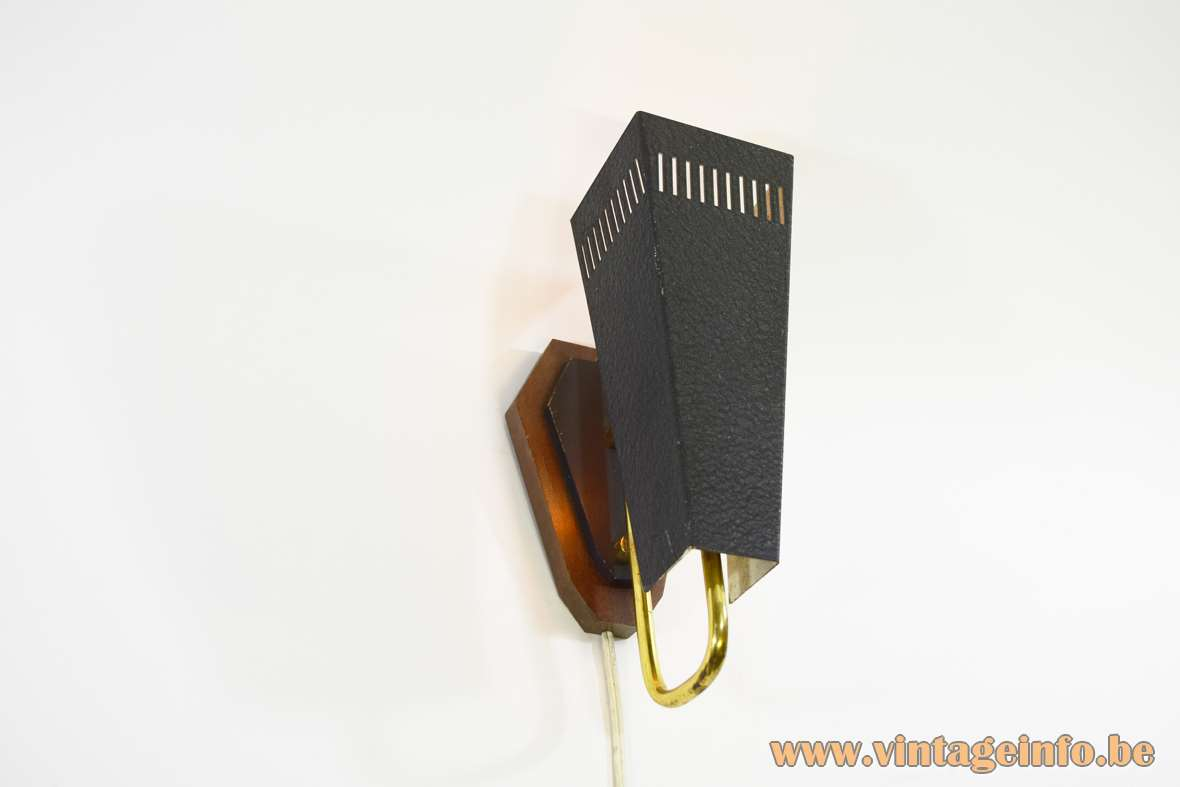 1950s trapezium wall lamp black wrinkle paint kite lampshade brass rod wood wall mount 1960s vintage