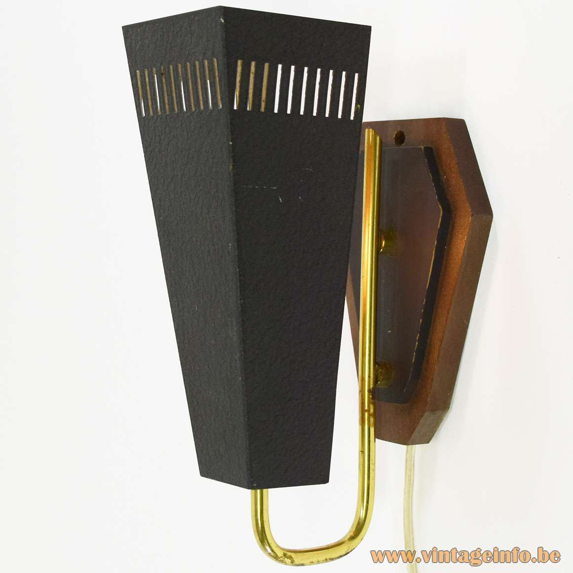 1950s Trapezium Wall Lamp black wrinkle paint brass curved rod wooden wall mount kite MCM 1960s